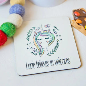believe in unicorns coaster