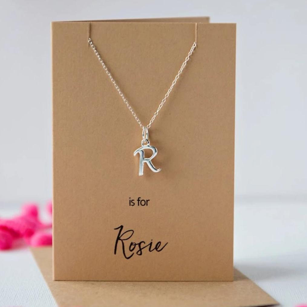 Silver initial necklace card