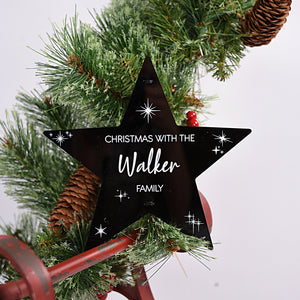 Black Star Family Christmas Tree Topper