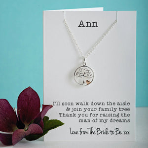 Mother of the Groom Silver & Rose gold tree pendant