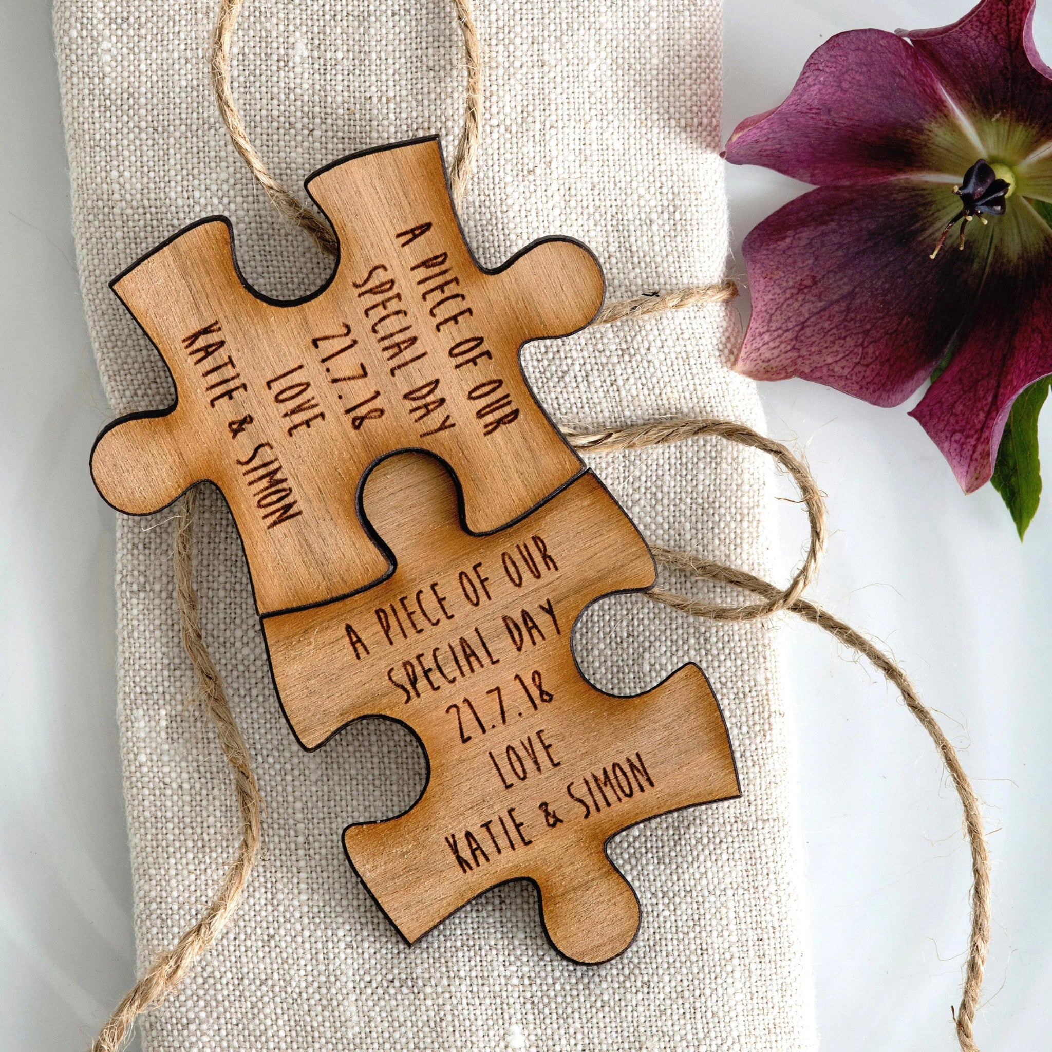 Wooden Jigsaw table favours