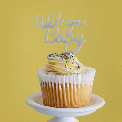 Pack of 5 'Welcome Baby' cupcake toppers
