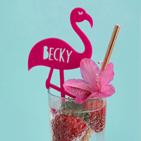Personalised Flamingo Drink Stirrer