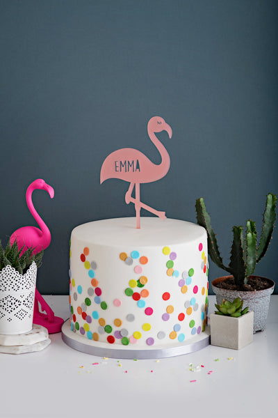 Personalised Flamingo Cake Topper