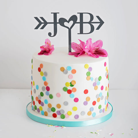 Personalised Initials & heart cake topper