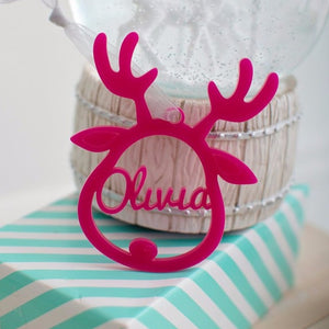 Reindeer Christmas tree bauble personalised