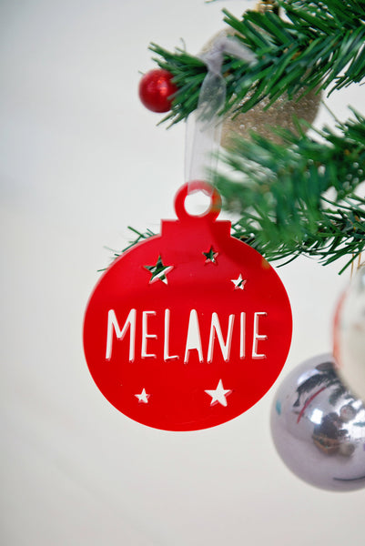 Cut out bauble with stars personalised with any name
