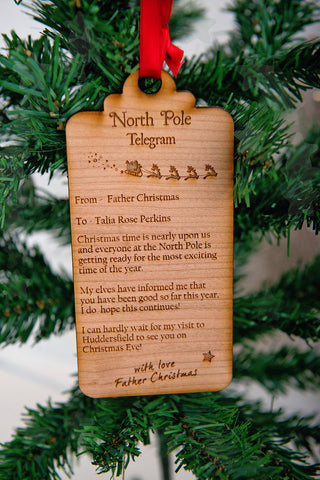 Christmas 'Telegram' tree decoration keepsake from Santa