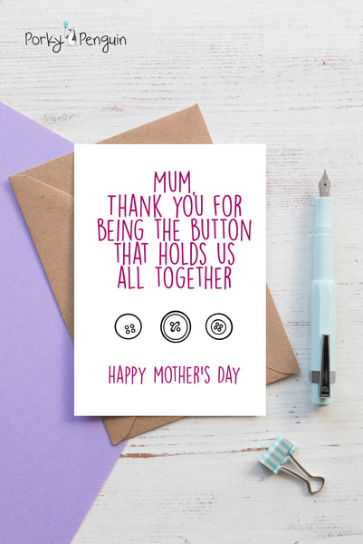 Personalised Button Mother's Day Card