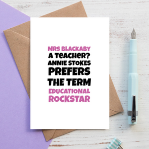 Educational Rockstar Personalised Teacher Card