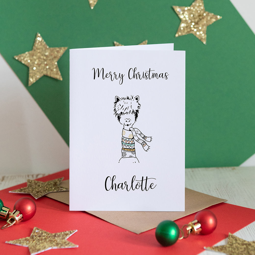Personalised Christmas Llama Card