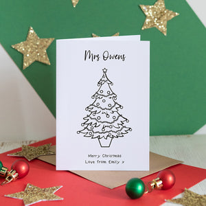 Colour in your Own Christmas Tree Card