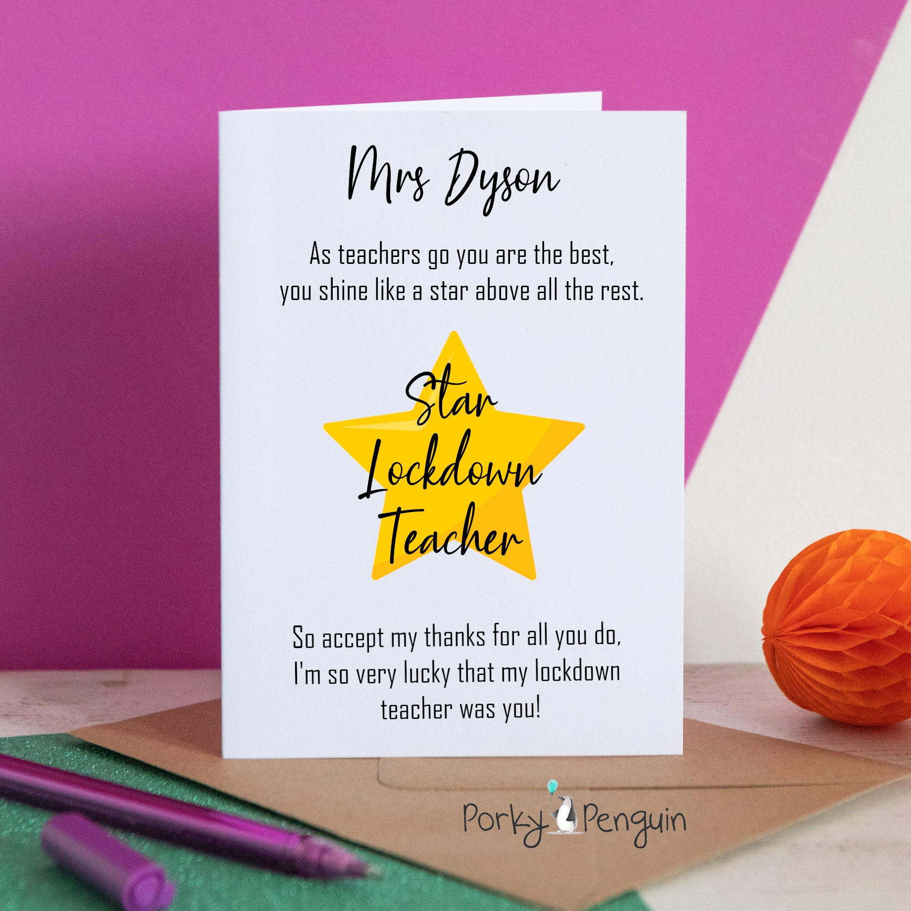 Golden Star Teacher Card