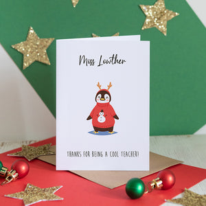 Cool Teacher Penguin Personalised Card