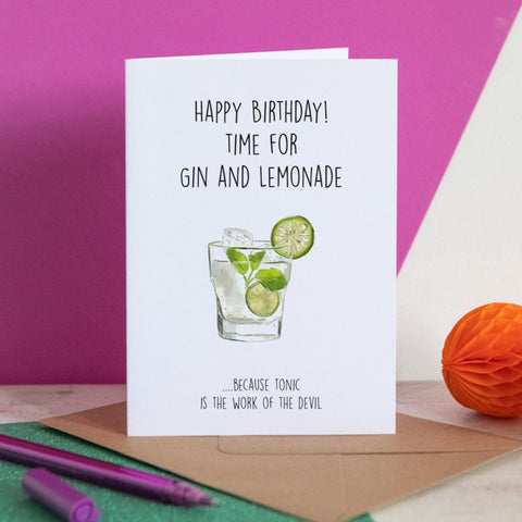 Gin & Lemonade Birthday Card
