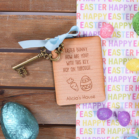 Personalised Wooden Easter Bunny Key