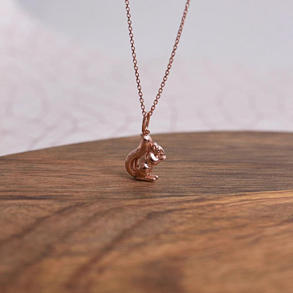 Red Squirrel Rose Gold Sterling Silver Necklace