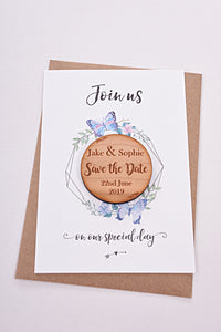 Lilac Love - Save the Date card with personalised wooden magnet