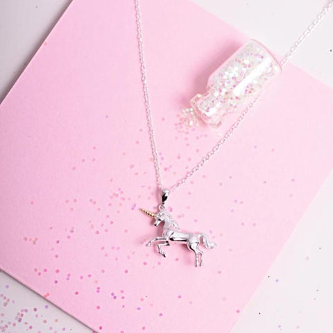 Unicorn Necklace with Gold Horn