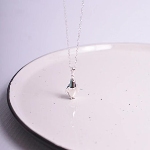 Solid Silver Penguin Necklace