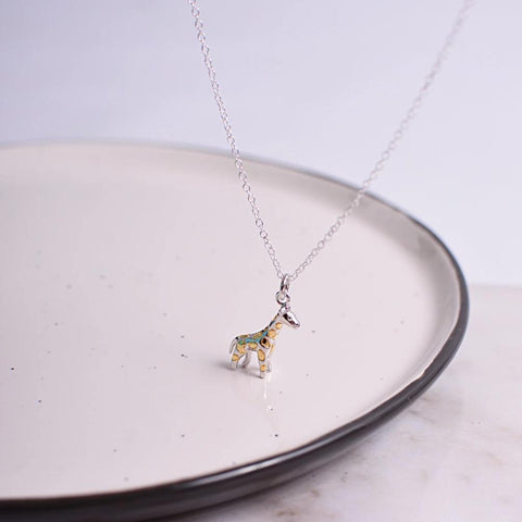 Stunning Giraffe Sterling Silver Necklace