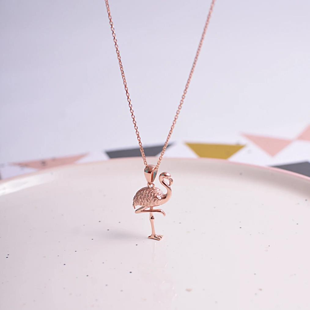 Rose Gold Flamingo Necklace