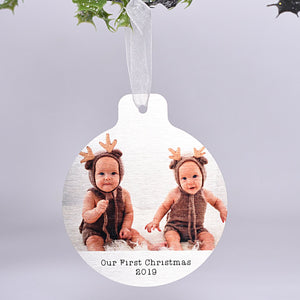 Aluminium Everlasting Photo Bauble with Wording