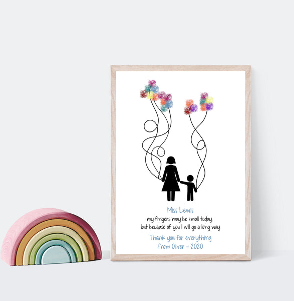 Fingerprint Teacher Balloon Print
