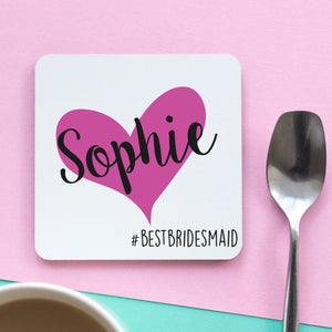 Best Bridesmaid Heart Coaster