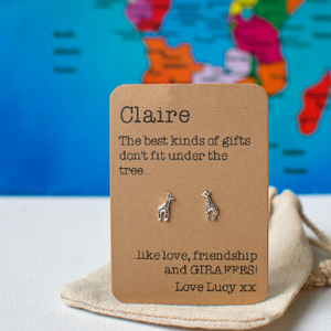 Love, friendship and Giraffe Earrings - Christmas Edition