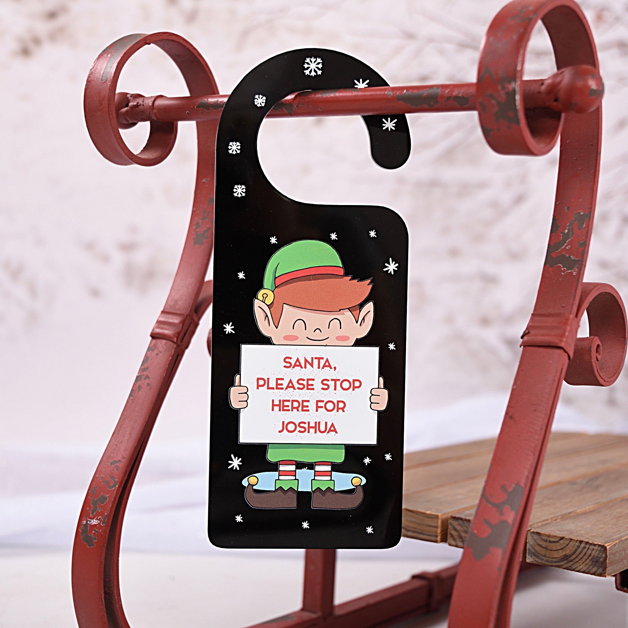 Santa please Stop Here Elf Door Hanger