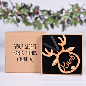Reindeer Secret Santa Knob Bauble & Box