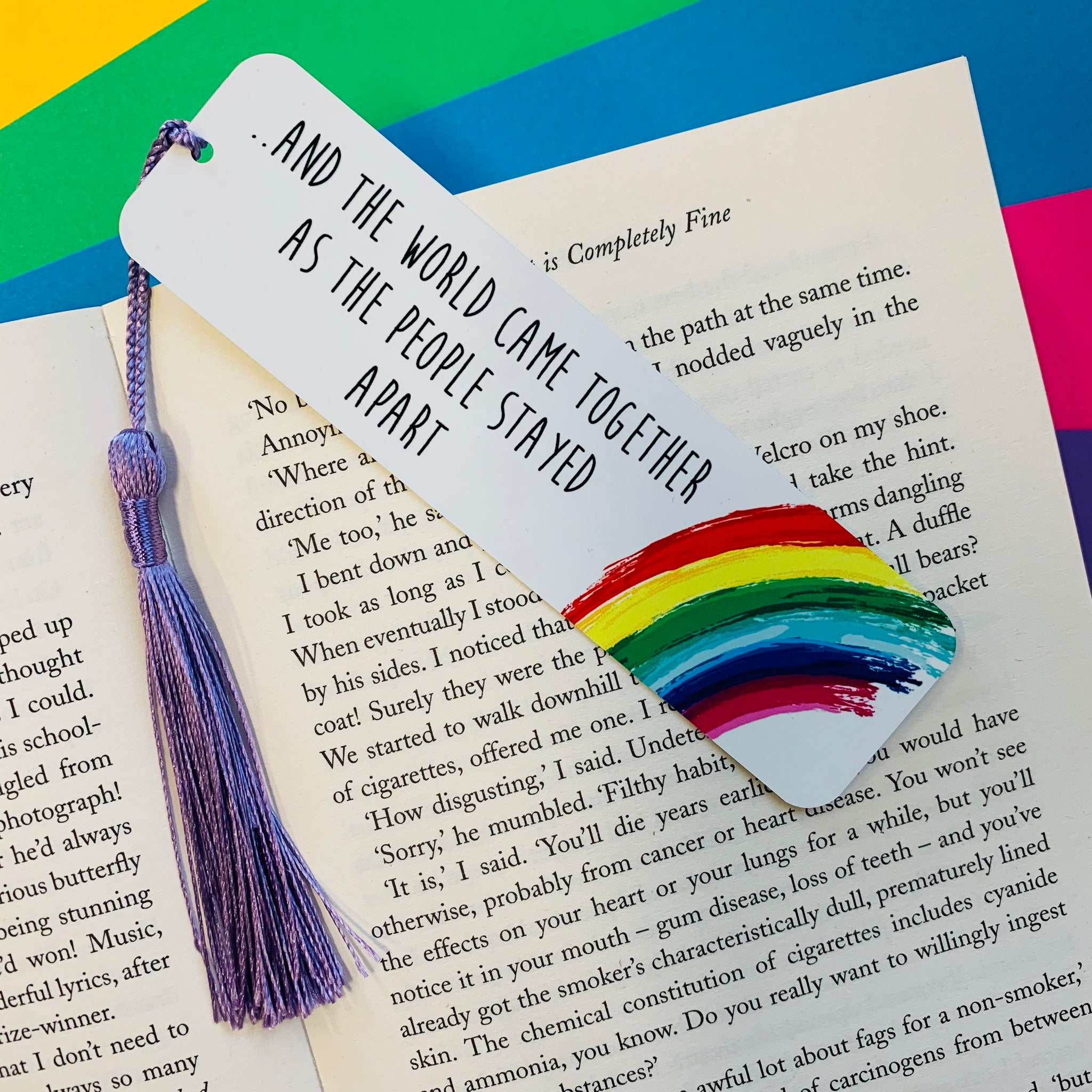 The World Came Together Rainbow Bookmark