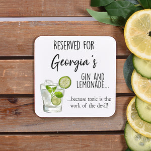 Gin & Lemonade Personalised Coaster