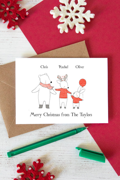 Family Christmas Winter Animals Card