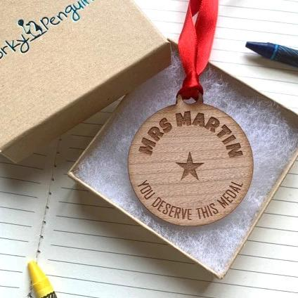 Personalised Wooden Teacher Medal