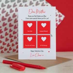 Choose Your Own tokens Valentine's Day Card