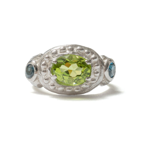 (SALE) London blue topaz and peridot ring
