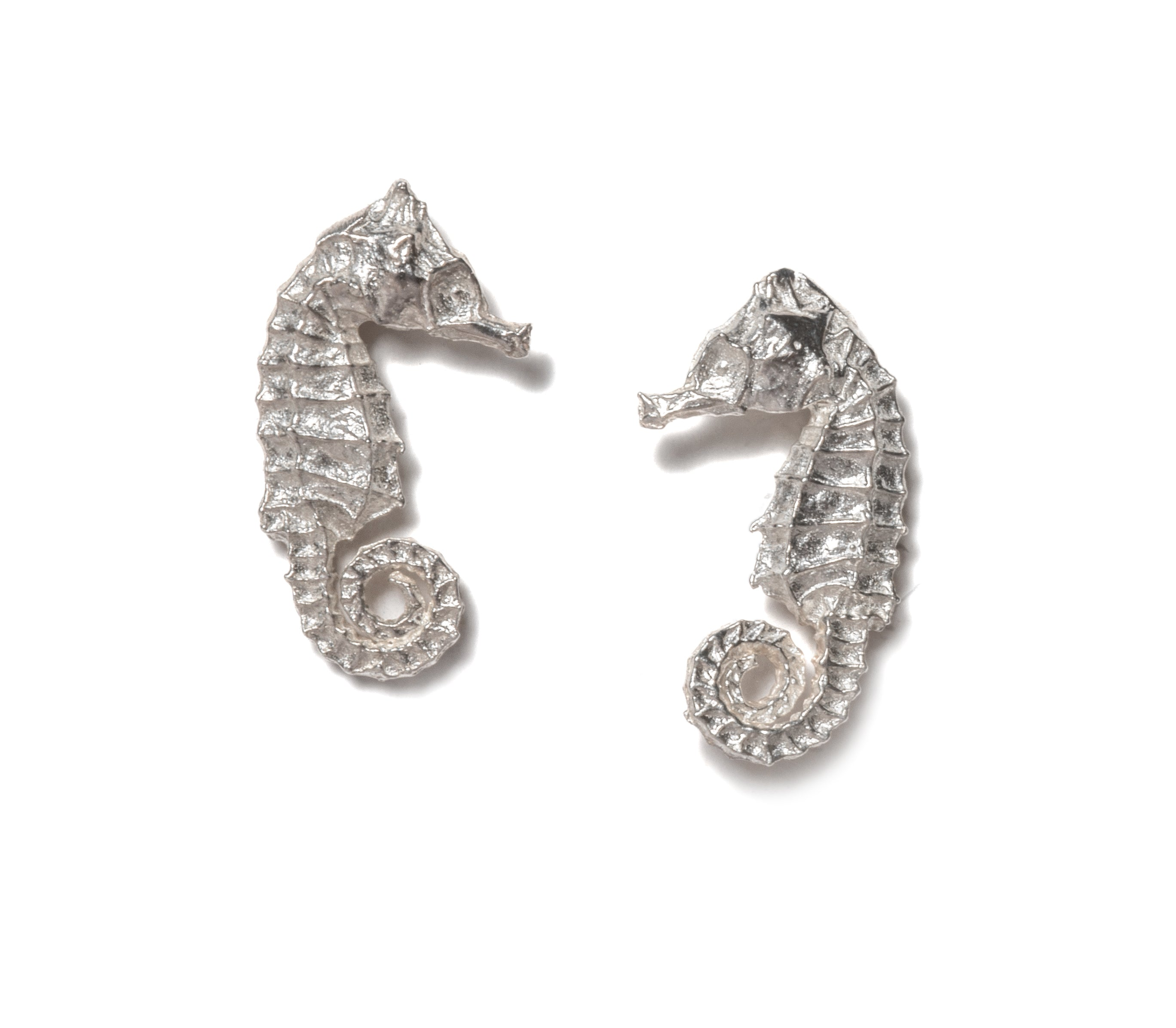 Tiny seahorse earrings ~ (polished silver)