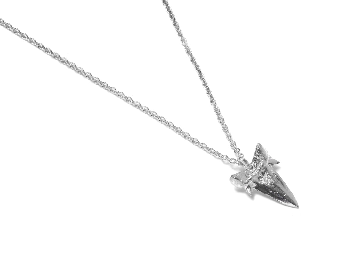 Small Sharks Tooth Necklace (Polished Silver)