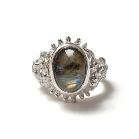 Light blue topaz and opal cleo ring
