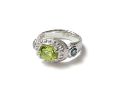 London blue topaz and peridot ring
