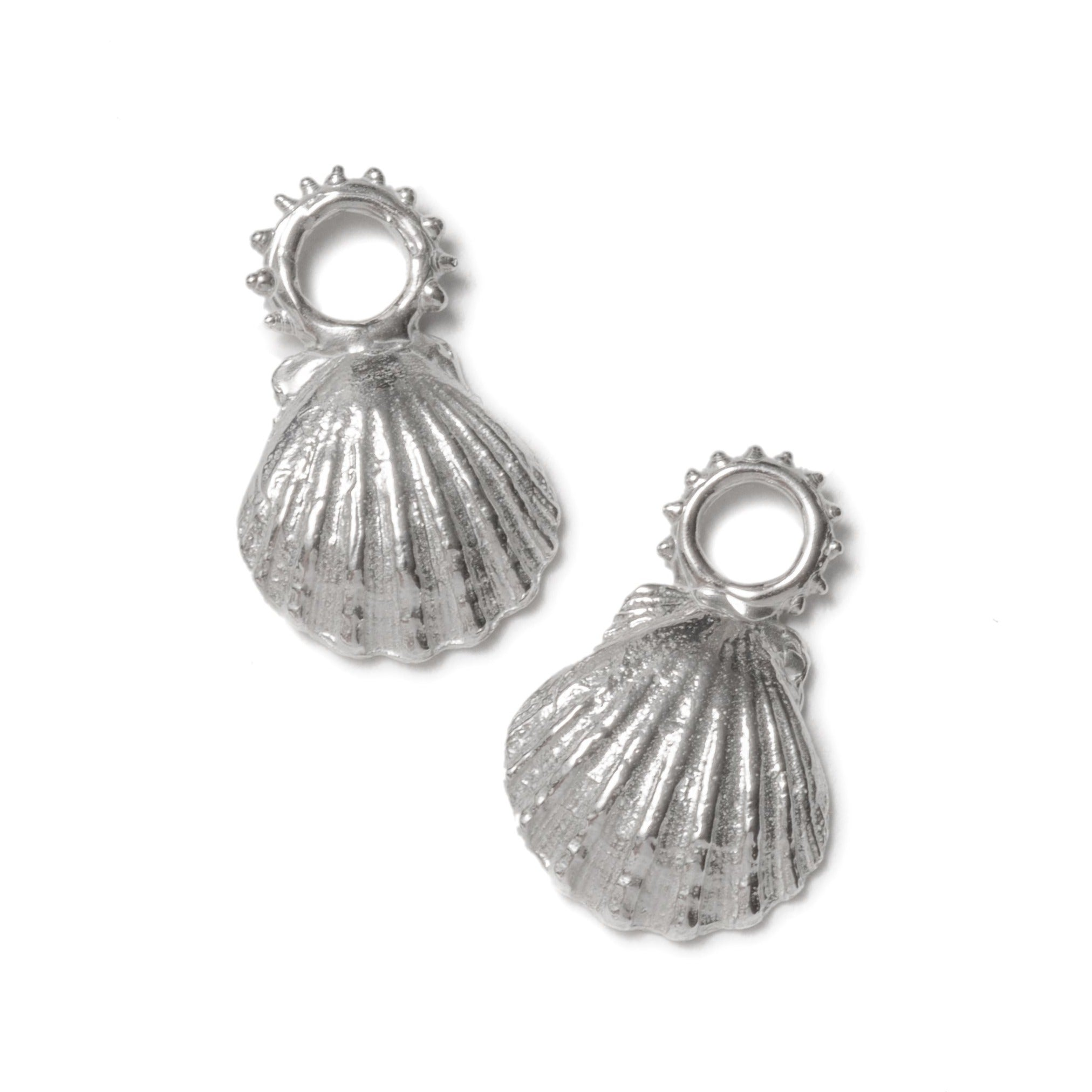 Clam shell charms ~ (Polished silver)