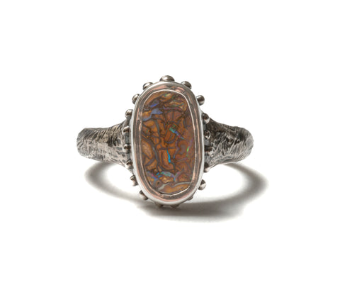 (SALE) Boulder opal scales ring