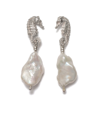 Seahorse Cloud Pearl Drop Earrings (Blackened Silver)