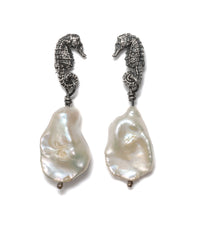 (SALE) Seahorse cloud pearl drop earrings ~blackened silver