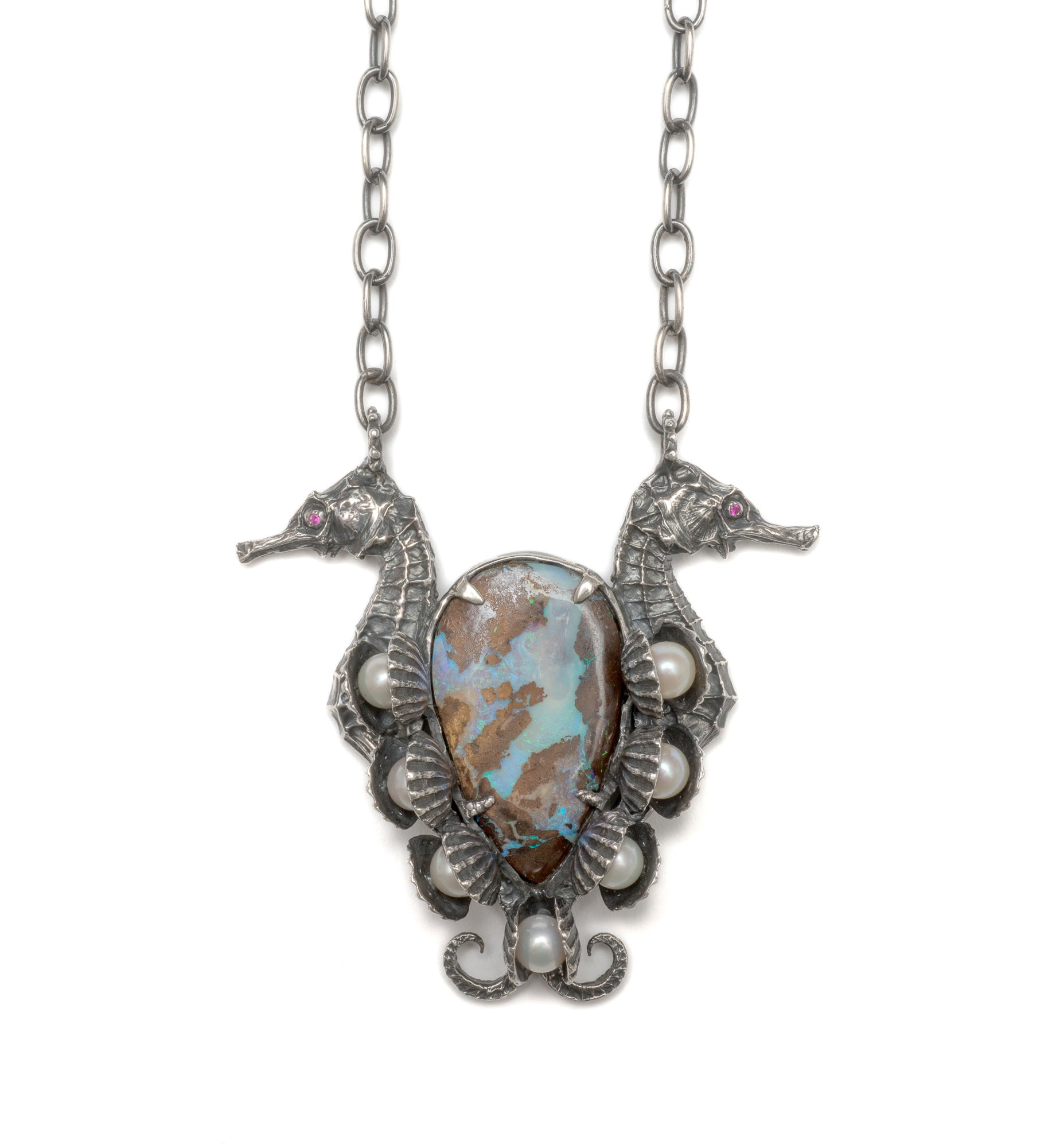 Seahorses, opal, pearl and ruby necklace