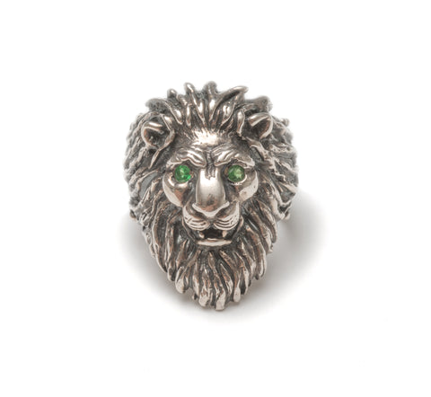 Tsavorite garnet lion ring ~ Gold