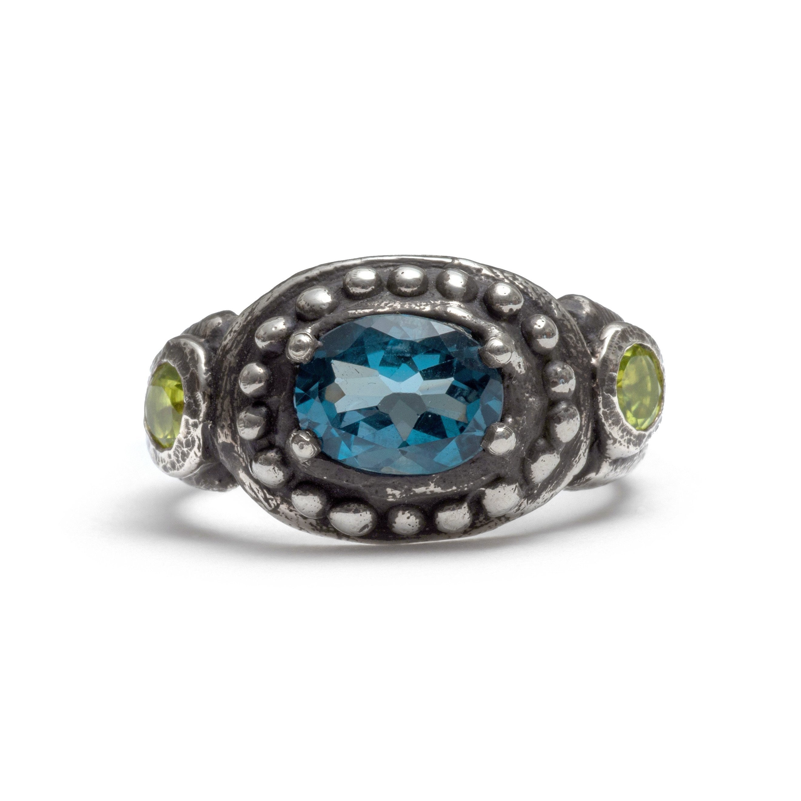 Peridot and london blue topaz cleo ring