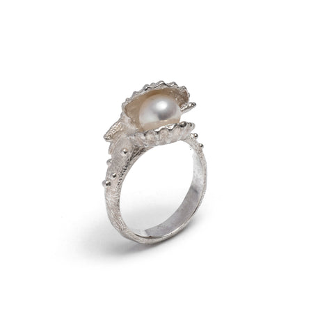 Clam shell pearl ring ~ (polished silver)